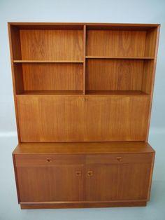 Brouer Danish Modern Teak Tall Secretary Desk Bookcase