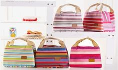 Striped Thermal Lunch Bags
