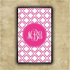 Monogrammed Kindle Fire case - Hot pink moroccan - Kindle Fire HD, Touch, Nexus 7, Ipad Mini, Ipad, Galaxy Tab 2 ereader case(9828) $22.95