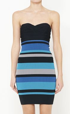 Herve Leger Blue And Multicolor Dress