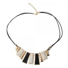 Beautiful Alloy #Geometry Trapezoid #Shape Sweater Chain Rhinestone #Necklace Golden and Black