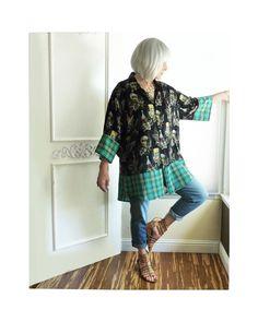 Oversize Hawaiian top, Kimono, beer print, Upcycled clothing, artsy, beach coverup, aqua, black, boho, refashioned, eco fashion, Plus size by ButterCatCo on Etsy https://www.etsy.com/listing/518434070/oversize-hawaiian-top-kimono-beer-print