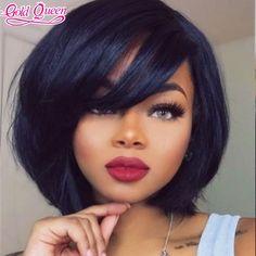 Cute 150% 10inch Bob Short Cut Human hair wig lace front human hair wig with…