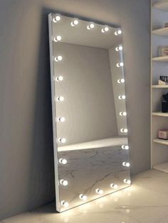 Hollywood Glam 'The Boulevard' Full Length Mirror – Glam Doll in bedroom ideas full length Large Bedroom Mirror, Mirror Room, Bedroom Mirror With Lights, Full Length Mirror In Bedroom, Lit Mirror, Cool Mirrors, Teen Room Decor, Room Ideas Bedroom, Bedroom Decor