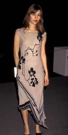 Sofia Coppola wearing a Martine Sitbon dress at a fashion show honoring Tom Ford June 1997   Photographer Ron Galella.