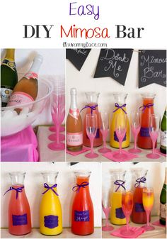 A DIY Mimosa Bar is the perfect way to celebrate New Years Eve, A Girls Night In or a Baby Shower. A Mimosa Bar makes for easy self-serve cocktails. Adult Slumber Party, Slumber Parties, Slumber Party Foods, Sleepover Party, Bachelorette Parties, Brunch Party, Spa Party, Pamper Party, Birthday Brunch