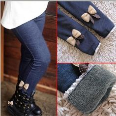 Warm Cashmere Leggings for Girls with Elastic Waist and Bow - More Choices Available