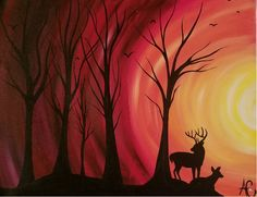 Deer, Owl, Paintings, Sunset, Pretty, Artist, Paint, Owls, Painting Art