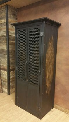 Industrial club locker by Industrial Evolution Furniture co. Love the steel crown and distressed burnt amber finish!! Get your at www.industrialfurnitureco.com