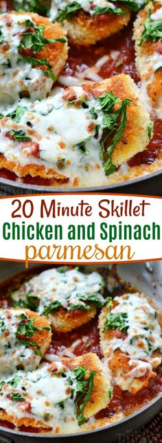 This 20 Minute Skillet Chicken and Spinach Parmesan is the easiest and most delicious dinner EVER! One that the whole family will enjoy! // Mom On Timeout #chicken #parmesan #spinach #skillet #skilletchicken #20minutes #easy #dinner #dinnertime #dinnerrecipes
