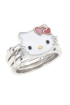 Hello Kitty by Simmons Jewelry Co. Sterling Silver & Enamel Hello Kitty Stackable Rings