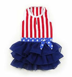Your patriotic princess will be the best looking dog in this American Girl Dog Dress.   Good old American flag design with added spice. Detailed star belt with bow and multi-layered ruffled navy blue skirt. Leash hole.