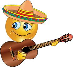 This smiley will be singing at the fiesta, but you don't have to wait for Cinco de Mayo to share him on your timeline. Smiley Emoticon, Emoticon Faces, Funny Emoji Faces, Smiley Happy, Funny Emoticons, Smiley Faces, Emoji Pictures, Emoji Images, Cute Images For Dp
