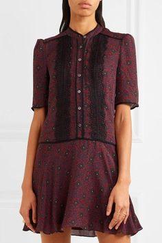 Veronica Beard - Alana Lace-trimmed Printed Silk-chiffon Mini Dress - Burgundy