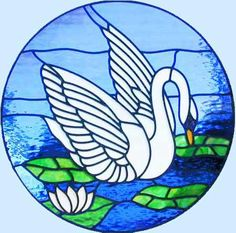 Stained glass swan for TEMPLE