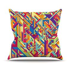 KESS InHouse RP1010AOP03 18 x 18-Inch 'Roberlan Buracos Abstract' Outdoor Throw Cushion - Multi-Colour *** Visit the image link for more details. #GardenFurnitureandAccessories