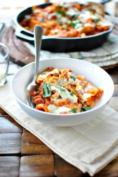 Easy Skillet Lasagna. Tried this and substituted it with Italian Seasoned Ground Turkey. Absolutely delicious!!!