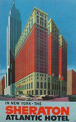 1960s SHERATON ATLANTIC Hotel NEW YORK CITY 34th Street Broadway Vintage Postcard Illustration