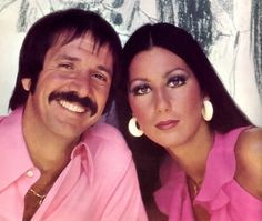 Sonny and Cher, husband and wife singing team in 1970s. Cher wears the most exotic and erotic costumes designed by Bob Mackie.and looks fabulous. They were married from 1969-1975 and had a daughter, Chasity, who underwent a sex change in 2008-2010 and now goes by the name of Chaz.