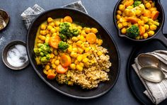 This meatless meal uses canned chickpeas and frozen vegetables, making it extra convenient on weekdays. With flavors that intensify over time, save some for leftovers.