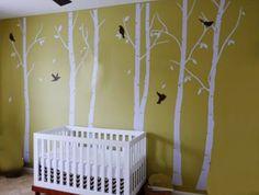 Birch tree nursery mural