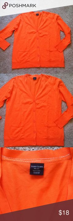 Nwot plus size orange button w pocket sweater Super orange very pretty warm fall color brand is faded glory this is a over sized sweater it can fit 3X its long sleeved 5 big buttons down the front two front  pockets very soft well made 77% cotton 23% nylon soft not thin not to thick great for a light coat or a office space that air conditioned mostly its perfect for autumn weather keys torrid maurices lane bryant jms soma cacique Faded Glory Sweaters V-Necks