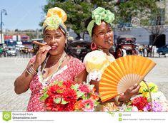 Cuban women posing for tourists Editorial Stock Photo
