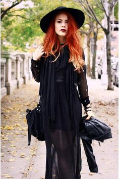 'Sheer Black' by Le Happy #street #style #fashion #black #red #hair #hat #goth