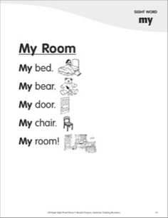 My Room (Sight Word 'my'): Super Sight Words Poem Basic Sight Words, Teaching Sight Words, Sight Word Practice, Teaching Letters, Teaching Phonics, Sight Word Sentences, Sight Word Worksheets, Phonics Words, Spelling Words