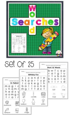 Word Searches for young students!  Includes 25 word searches with pictures for each word.  $