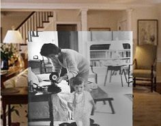 """vinylespassion: """"Jackie Kennedy picking out records with Caroline in their living room in Hyannis. Les Kennedy, Jacqueline Kennedy Onassis, Jackie Kennedy, Kennedy Compound, Hyannis Port, John Junior, Music Images, Band Photos, Jfk"""