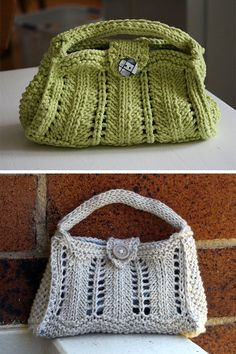 Free Knitting Pattern for Isabeau Purse - Small lace bag with handle. A larger version is also available. Designed by Sylvie Damey. Pictured projects by labross and missyisobel. Aran weight yarn.
