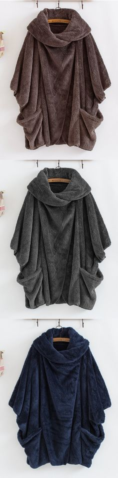 [Newchic Online Shopping] 46%OFF Gracila Women's Casual Coats | Women's Cloak Coats | Turtleneck Coats | Big Pocket Coats | Coats for Women #coats #womensfashion #winterfashion