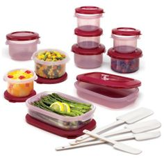 Superseal 24 Piece Food Saver Set, Cranberry by Superseal. $32.52. Set includes four 9 ounce round food savers, four 9 ounce round food saver lids, four 16 ounce round food savers, four 16 ounce round food saver lids, two 26 ounce rectangular food savers, two 26 ounce rectangular food saver lids and 4 piece spatula set. Dishwasher safe. Easy to Clean. Made in USA. Durable. Superseal 24 Piece Food Saver Set, Cranberry