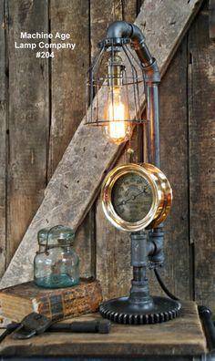 Steampunk Lamp, Steam Gauge and Gear Base #204 MTO