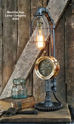 Steampunk Lamp, Steam Gauge and Gear Base #204 MTO