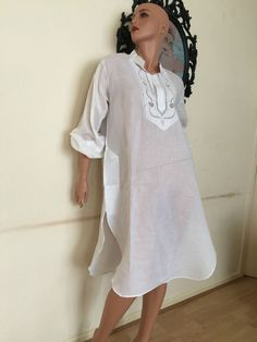 Embroidered white Shirt Tunic Dress cotton Tops long S M 8 10 12 34 36 38 | eBay