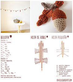 Ravelry: Amigurumi acorn garland free crochet pattern by Cristina Batista- Mais Fruits En Crochet, Crochet Leaves, Crochet Motifs, Crochet Flower Patterns, Crochet Chart, Crochet Flowers, Crochet Garland, Crochet Diy, Crochet Fall