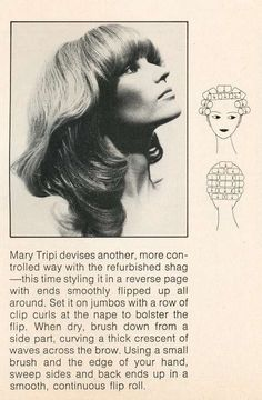 Vintage Hairstyles Curls 'The Shag' Hairdo 1972 - Some lovely hairdos from the (Hairdo 1970s Hairstyles, Vintage Hairstyles Tutorial, Curled Hairstyles, Updo Hairstyle, Hairdos, Wedding Hairstyles, Classic Hairstyles, School Hairstyles, Medium Hair Styles