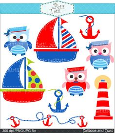 Sailboat and owls clip art - cute sailer clip art, Digital clip art, INSTANT… Owl Crafts, Paper Crafts, Used Sailboats, Owl Clip Art, Applique Patterns, Clipart, Baby Quilts, Pink And Green, Cute Pictures