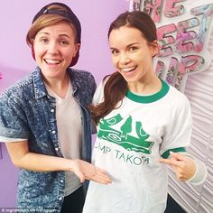 Happy couple: YouTube star Ingrid Nilsen (right) has confirmed her relationship with fellow online icon Hannah Hart (left) just months after coming out as gay to her subscribers