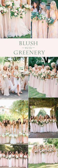 pretty blush bridesmaid wedding photos