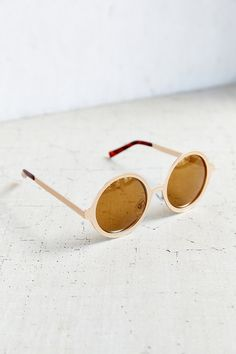 Painted Metal Round Sunglasses - Urban Outfitters