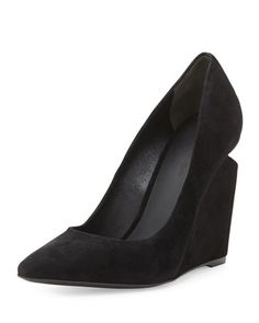 Ine Suede Pointed-Toe Wedge Pump, Black by Alexander Wang at Bergdorf Goodman.