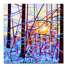 Abstract Landscape Painting - Mandy Budan: Sunrise / and other original paintings on her website. Abstract Landscape Painting, Landscape Paintings, Abstract Art, Painting Art, Landscapes, Winter Painting, Art Paintings, Original Paintings, Canvas Artwork
