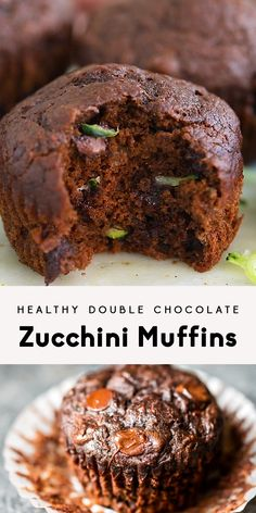 Recipes Snacks Muffins Chocolate zucchini muffins get a healthy makeover! Made with whole wheat flour and no butter or refined sugars (besides chocolate chips). You're going to love these perfectly moist, insanely delicious muffins! Healthy Muffins, Healthy Dessert Recipes, Healthy Baking, Healthy Desserts, Healthy Drinks, Vegan Baking, Double Chocolate Zucchini Muffins, Banana Zucchini Muffins, Healthy Chocolate Muffins