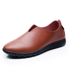 Nosotros tamaño 6.5-11.5 resbalón de cuero de los hombres en los zapatos zapatos ocasionales ocasionales planos suaves