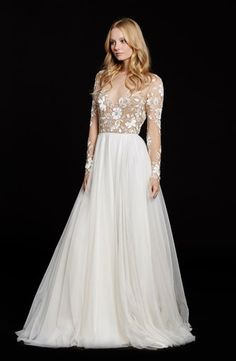 V-Neck A-Line Wedding Dress  with Natural Waist in Silk Chiffon. Bridal Gown Style Number:33220476