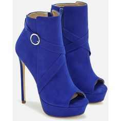 Justfab Booties Skyee ($40) ❤ liked on Polyvore featuring shoes, blue, open toe high heel shoes, justfab, open toe platform shoes, platform shoes and faux suede shoes