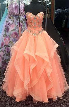 Orange Prom Dress, Beaded Prom Dress, Cheap Quinceanera